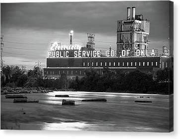 Public Service Co. Of Oklahoma - Tulsa - Black And White Canvas Print