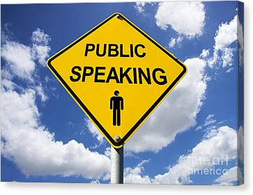 Public Speaking Sign Canvas Print by Jorgo Photography - Wall Art Gallery