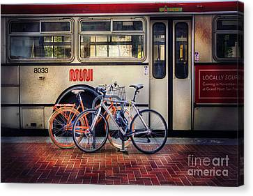 Canvas Print featuring the photograph Public Tier Bicycles by Craig J Satterlee