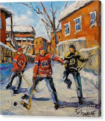 Hockey Canvas Print - Puck Control Hockey Kids Created By Prankearts by Richard T Pranke