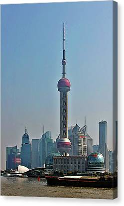 Pudong Shanghai Oriental Perl Tower Canvas Print by Christine Till