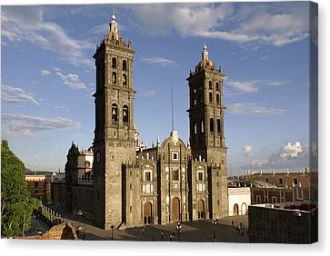 Puebla Cathedral Horizontal Mexico Canvas Print by John  Mitchell