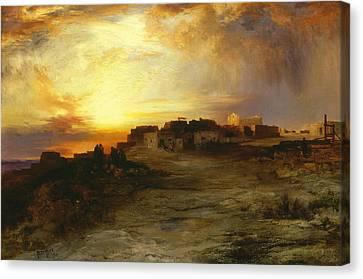 Moran Canvas Print - Pueblo At Sunset  by Thomas Moran