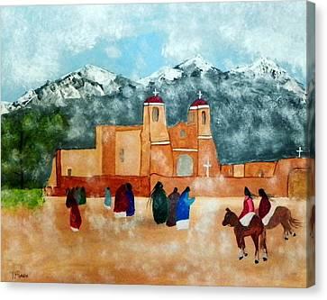 Pueblo Church Canvas Print by Joseph Frank Baraba