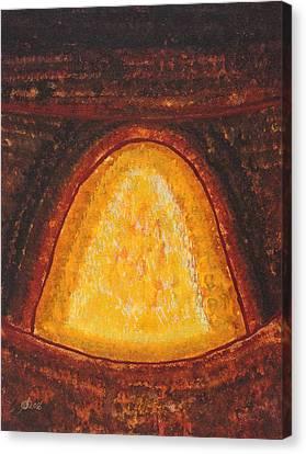 Pueblo Kiva Fireplace Original Painting Canvas Print