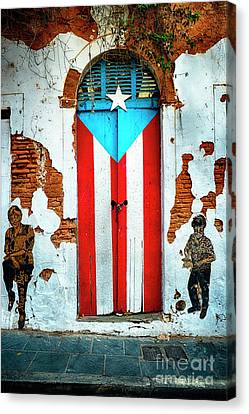 Puerto Rican Flag Door Canvas Print by George Oze