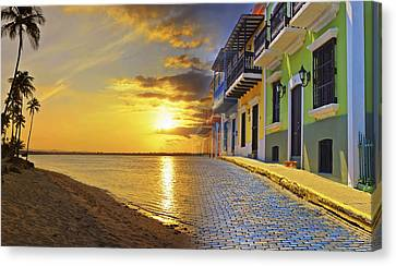 Tropical Sunset Canvas Print - Puerto Rico Montage 1 by Stephen Anderson