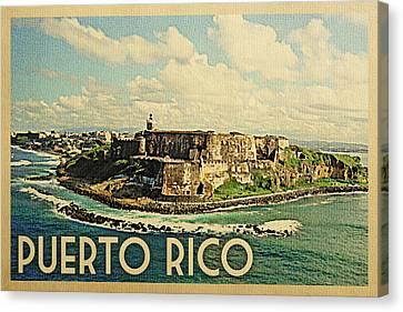Puerto Rico Travel Poster - Vintage Travel Canvas Print by Flo Karp