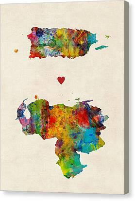Puerto Canvas Print - Puerto Rico Venezuela Love by Michael Tompsett
