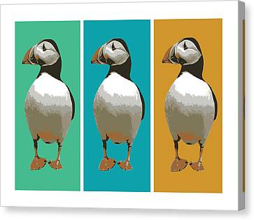 Puffin Trio Pop Art Canvas Print