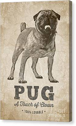 Pug A Touch Of Clown Canvas Print by Edward Fielding