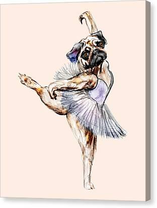 Pug Ballerina Dog Canvas Print by Notsniw Art