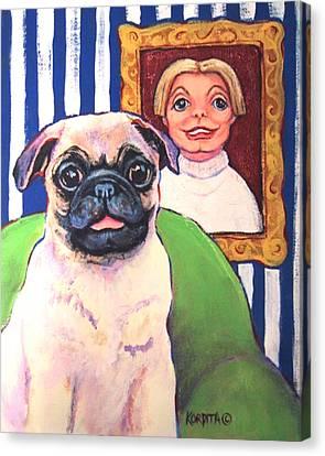 Pug - Beth Ann And Butch Canvas Print by Rebecca Korpita