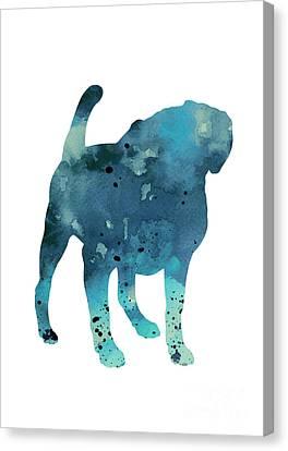 Pug Dog Watercolor Poster Canvas Print by Joanna Szmerdt