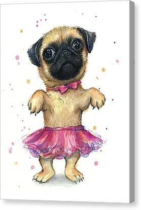Pug In A Tutu Canvas Print by Olga Shvartsur