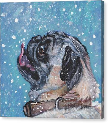 Canvas Print featuring the painting Pug In The Snow by Lee Ann Shepard