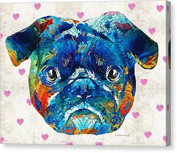 Pug Love Dog Art By Sharon Cummings Canvas Print by Sharon Cummings