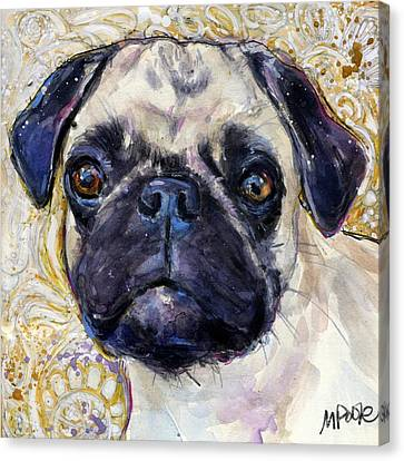 Pug Mug Canvas Print by Molly Poole