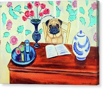 Pug Scholar Canvas Print by Lyn Cook