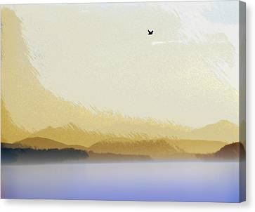 Puget Sound - Sunset Mist  Canvas Print by Steve Ohlsen