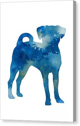 Puggle Abstract Dog Watercolor Poster Canvas Print by Joanna Szmerdt