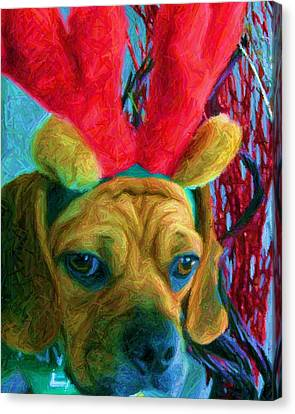 Canvas Print featuring the photograph Puggle Holiday by Susan Carella