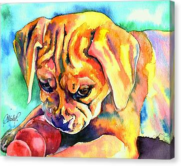 Puggle Playtime Canvas Print by Christy  Freeman