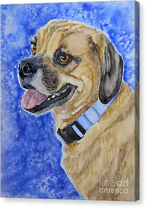 Puggle Canvas Print by Tracy Ellis-Maxwell