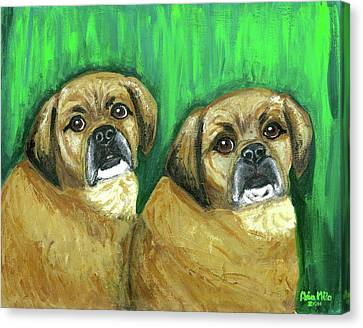 Puggles Bruno And Louie Canvas Print by Ania M Milo