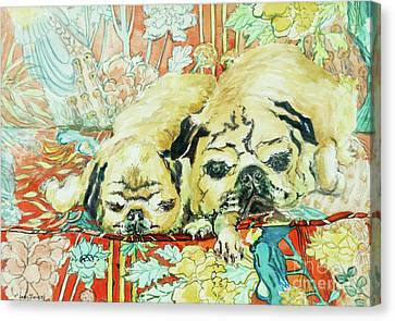 Pugs On A Chinese Print Sofa Canvas Print by Joan Thewsey