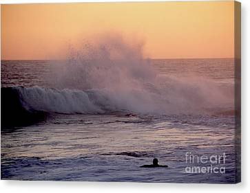 Canvas Print - Pull Of The Full Moon At The Wedge Newport Beach by Linda Queally
