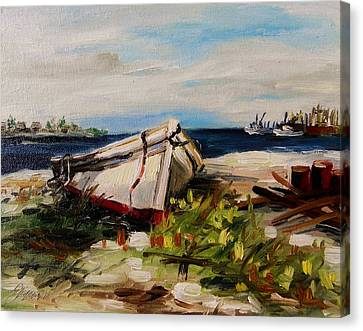 Canvas Print featuring the painting Pulled Up On Shore by John Williams