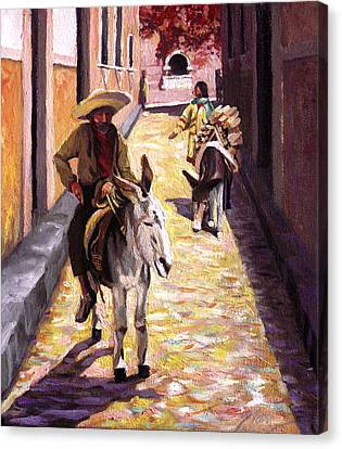 Pulling Up The Rear In Mexico Canvas Print by Nancy Griswold
