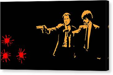Pulp Fiction Splatter  Canvas Print by Movie Poster Prints