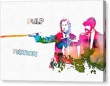 Pulp Fiction Watercolor Paint Splatter Canvas Print by Dan Sproul