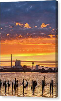 Canvas Print featuring the photograph Pulp Mill Sunset by Greg Nyquist