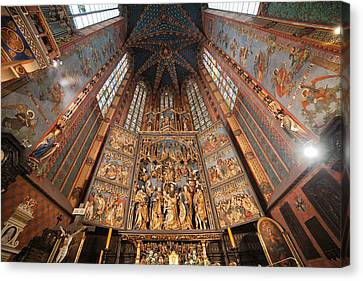 Pulpit In St. Mary's Basilica Interior In Krakow Canvas Print by Artur Bogacki