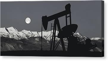 Pump Jack Moonlight B W Canvas Print by Daniel Hagerman