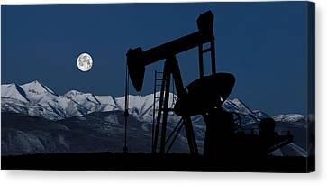Pump Jack Moonlight Canvas Print by Daniel Hagerman