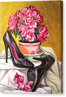 Canvas Print featuring the painting Pumped Azalea by Laura Aceto
