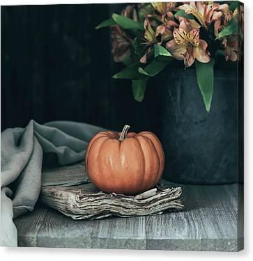 Pumpkin And Flowers Still Life Canvas Print