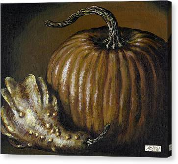 Pumpkin And Winged Gourd Canvas Print by Adam Zebediah Joseph