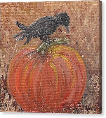 Pumpkin Crow Canvas Print