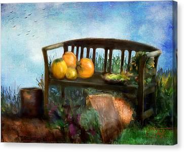 Autumn Scene Canvas Print - Pumpkin Harvest Respite by Colleen Taylor