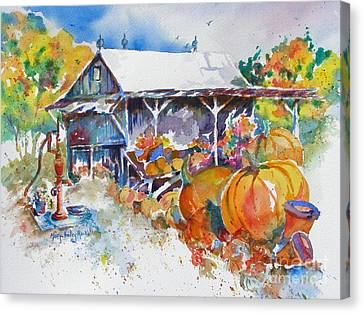 Canvas Print featuring the painting Pumpkin Time by Mary Haley-Rocks