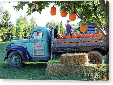 Pumpkin Truck Canvas Print by Steve Gass