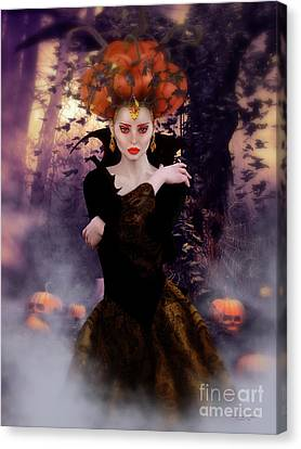 Pumpkin Witch Canvas Print by Shanina Conway