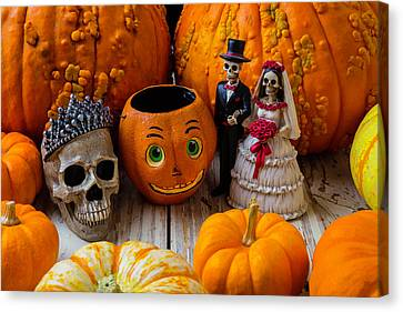 Pumpkins And Bride And Groom Canvas Print
