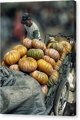 Canvas Print featuring the photograph Pumpkins In The Cart  by Charuhas Images