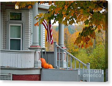 Pumpkins On A Vermont Porch Canvas Print by Catherine Sherman